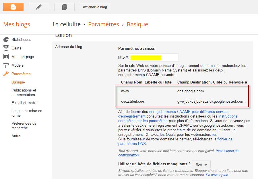 Blogger - personnaliser nom de domaine - etape 2