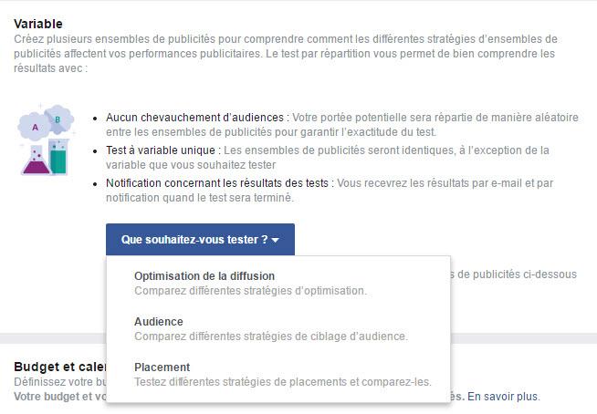 Le nouvel outil d'AB testing Facebook