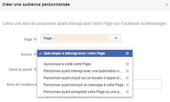 Audience personnalisée Facebook des personnes ayant interagi avec votre page fan