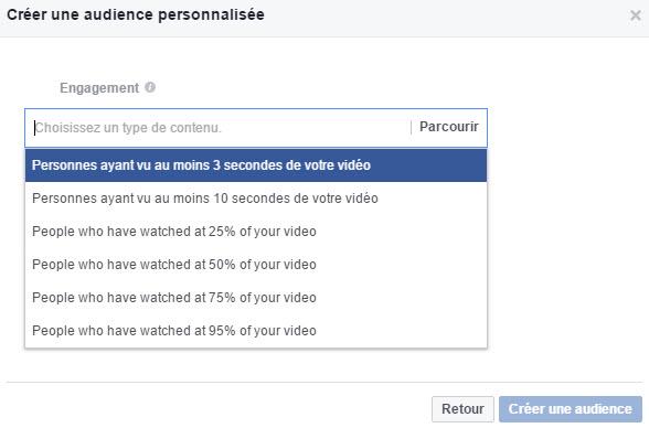 Audience personnalisée Facebook des personnes ayant visionné votre vidéo