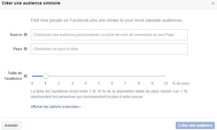 Créer une audience similaire Facebook