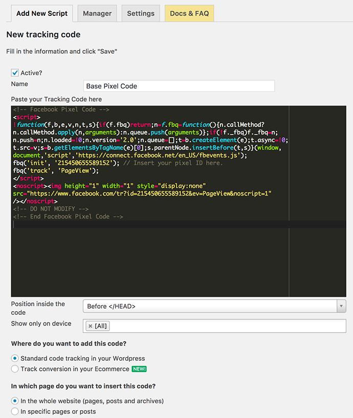 Ajouter un nouveau script dans Tracking Code Manager