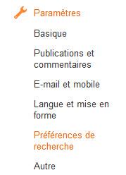 Blogger - Préférences de recherche