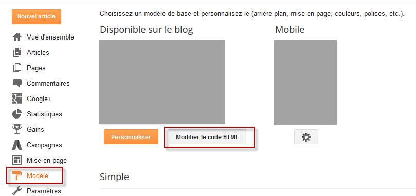 Modifier le modèle Blogger