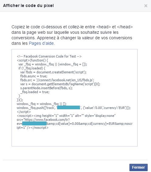 Insérez le code du pixel de conversion