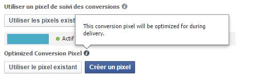 Facebook, optimized conversion pixel