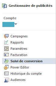 Suivi de conversion Facebook