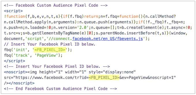 Code de base du pixel amélioré Facebook