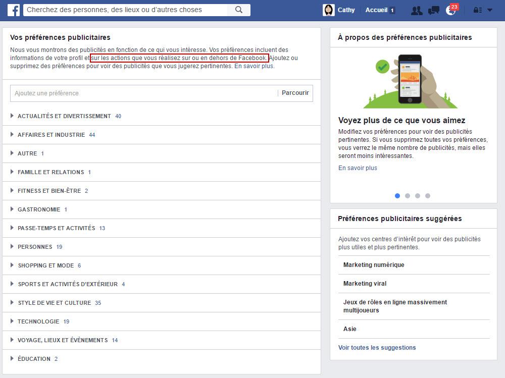 Vos préférences publicitaires sur Facebook