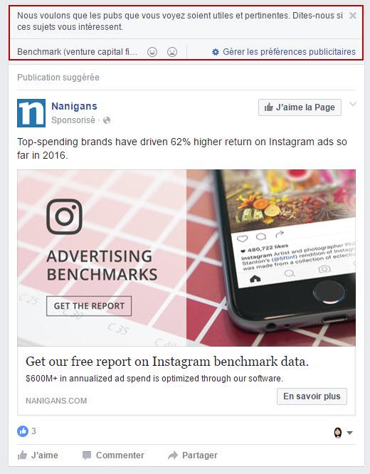 Question Facebook sur vos préférences publicitaires