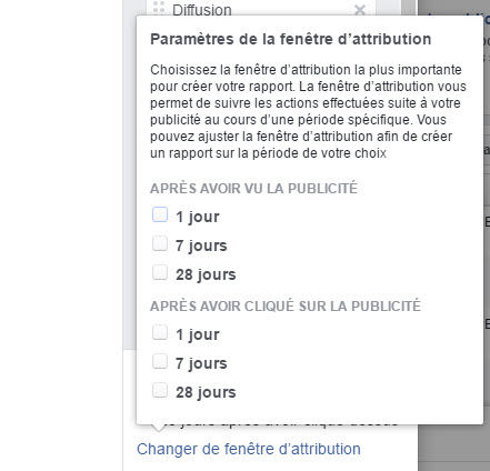 Les paramètres de la fenêtre d'attribution dans Facebook