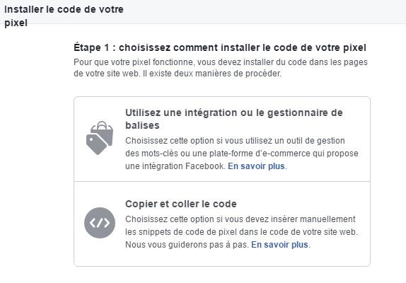 2 options pour installer le code pixel Facebook
