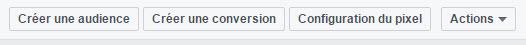 Menu de la rubrique Pixel dans le Gestionnaire de pub Facebook
