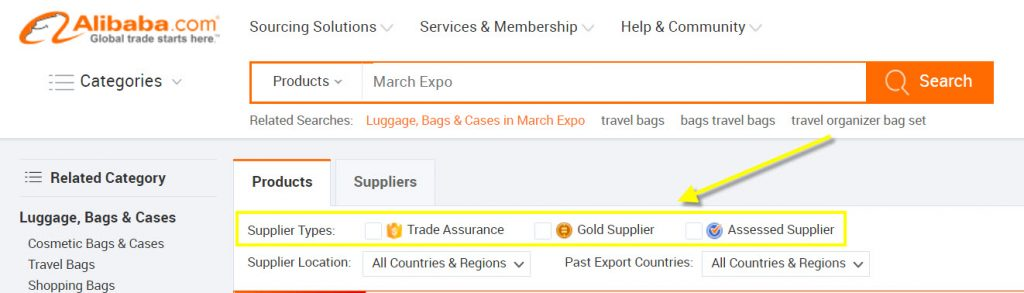 Types de fournisseur sur Alibaba