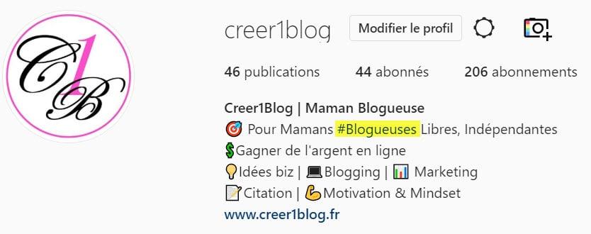 hashtag dans la bio instagram