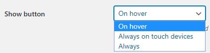 En version gratuite vous avez le choix uniquement de l'apparition du bouton au survol dans jQuery Pin It Button for Images