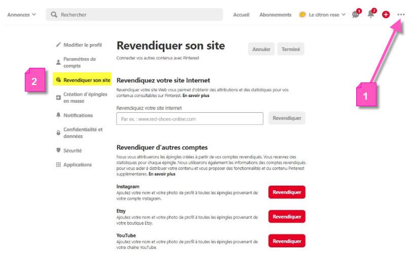 Section revendiquer son site Web sur Pinterest