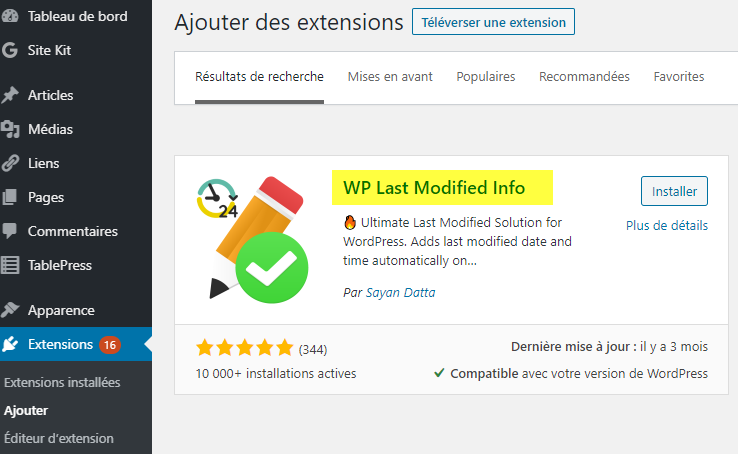 Installer le plugin WP Last modified Info