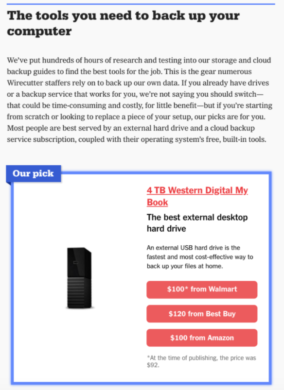 exemple wirecutter integration affiliation amazon