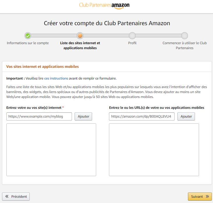 Créer un compte d'affiliation Amazon partenaires étape 2