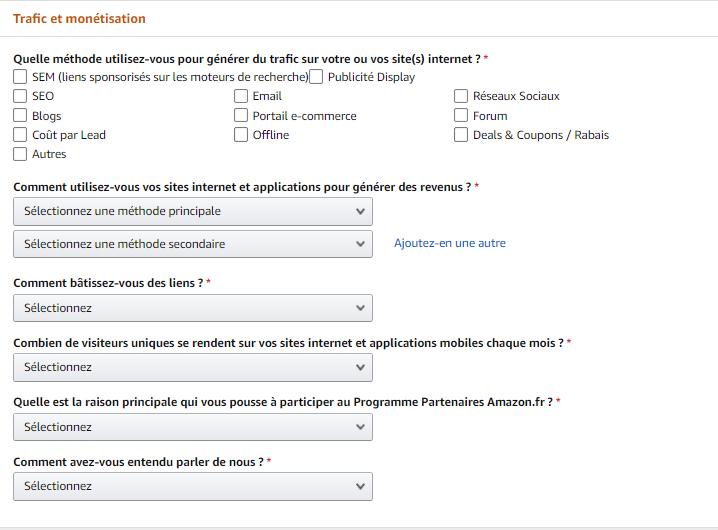 Créer un compte d'affiliation Amazon partenaires étape 4