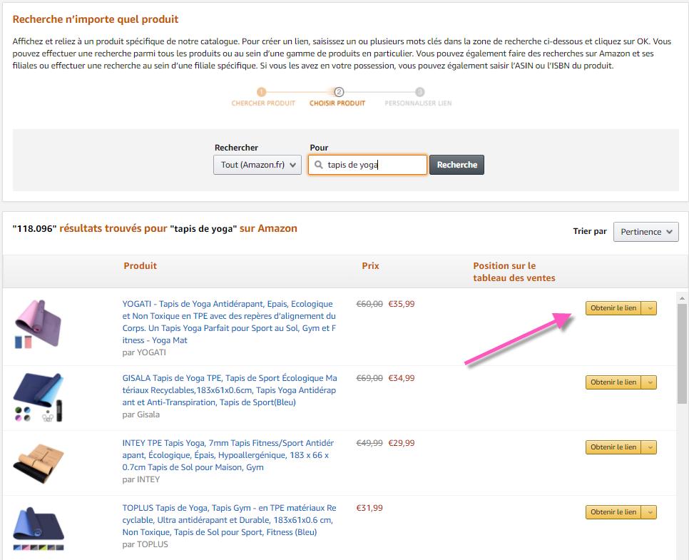 Comment obtenir un lien d'affiliation Amazon