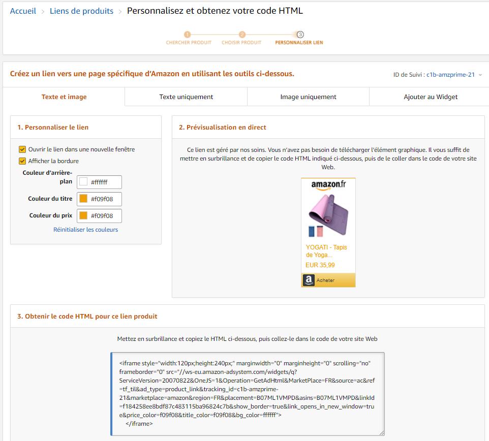 personnalisez le lien d'affiliation Amazon