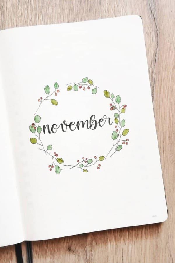 bullet journal novembre theme couronne