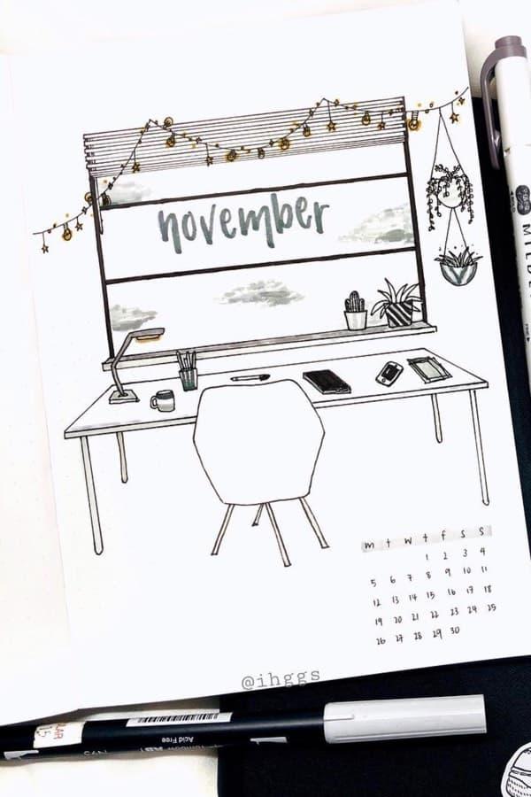 bullet journal novembre theme bureau