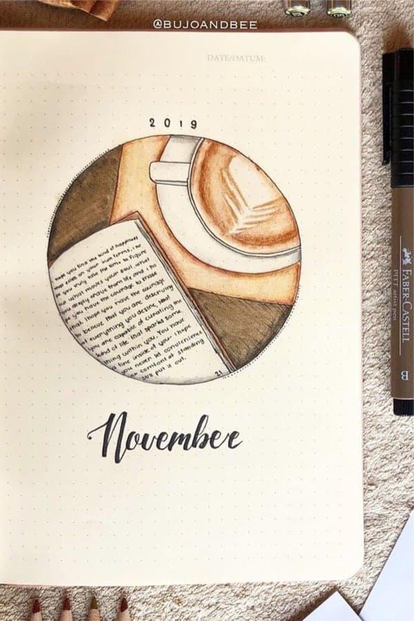 bullet journal novembre theme café