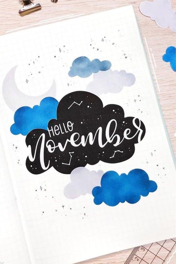 bullet journal novembre theme nuages