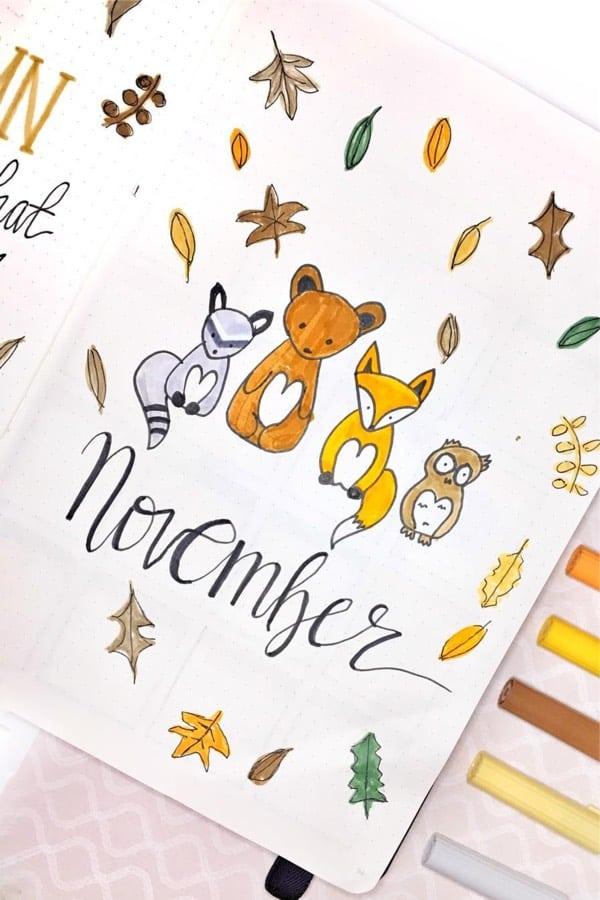 bullet journal novembre theme doodle