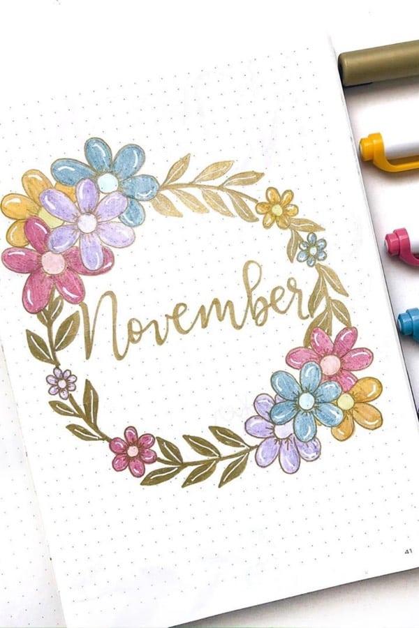 bullet journal novembre theme fleurs