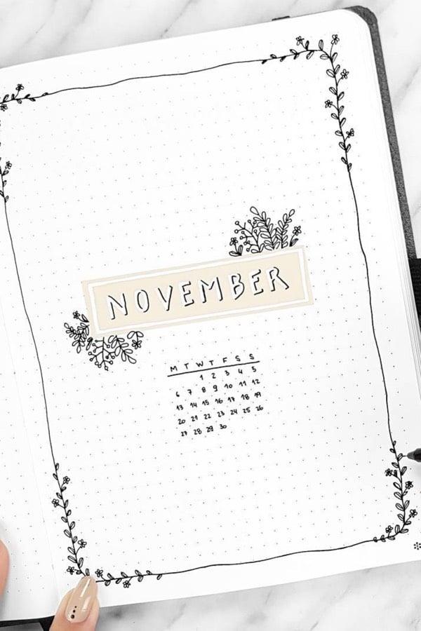 bullet journal novembre theme minimaliste