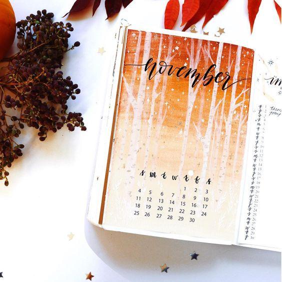 bullet journal novembre theme automne