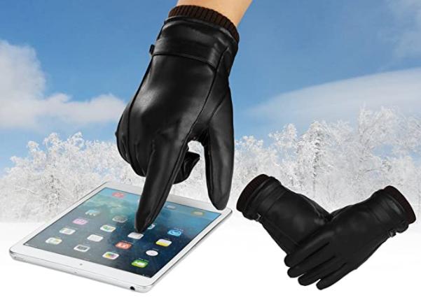 cadeau de noël pour homme : gants hiver cuir tactiles