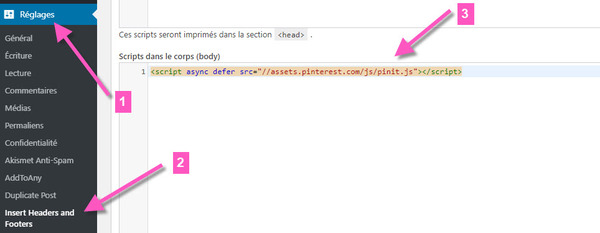 ajouter du code dans la balise body dans wordpress avec plugin insert headers and footers