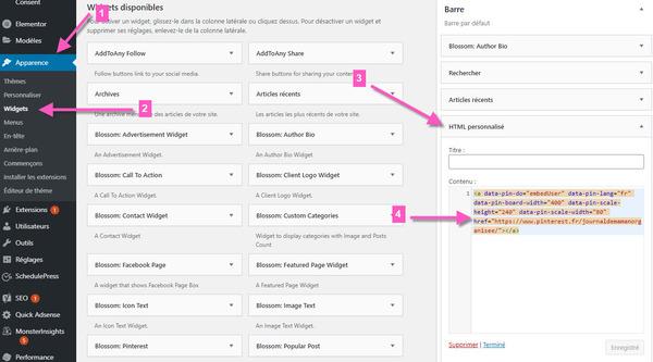 ajouter un widget html personnalisé dans wordpress