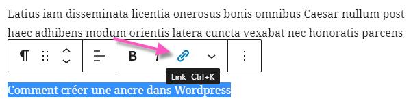 comment créer une ancre wordpress