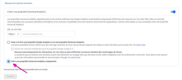 créer une propriété google analytics