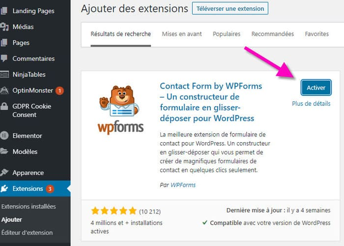 Activer un plugin wordpress