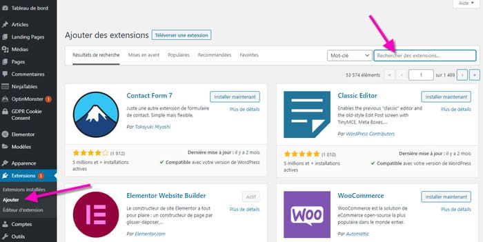 rechercher un plugin wordpress